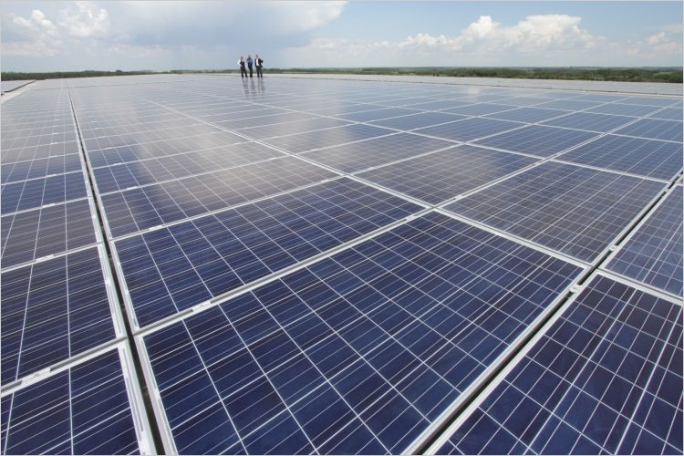 Rooftop solar panels in Leduc, Alberta.  Photo:    David Dodge, Green Energy Futures