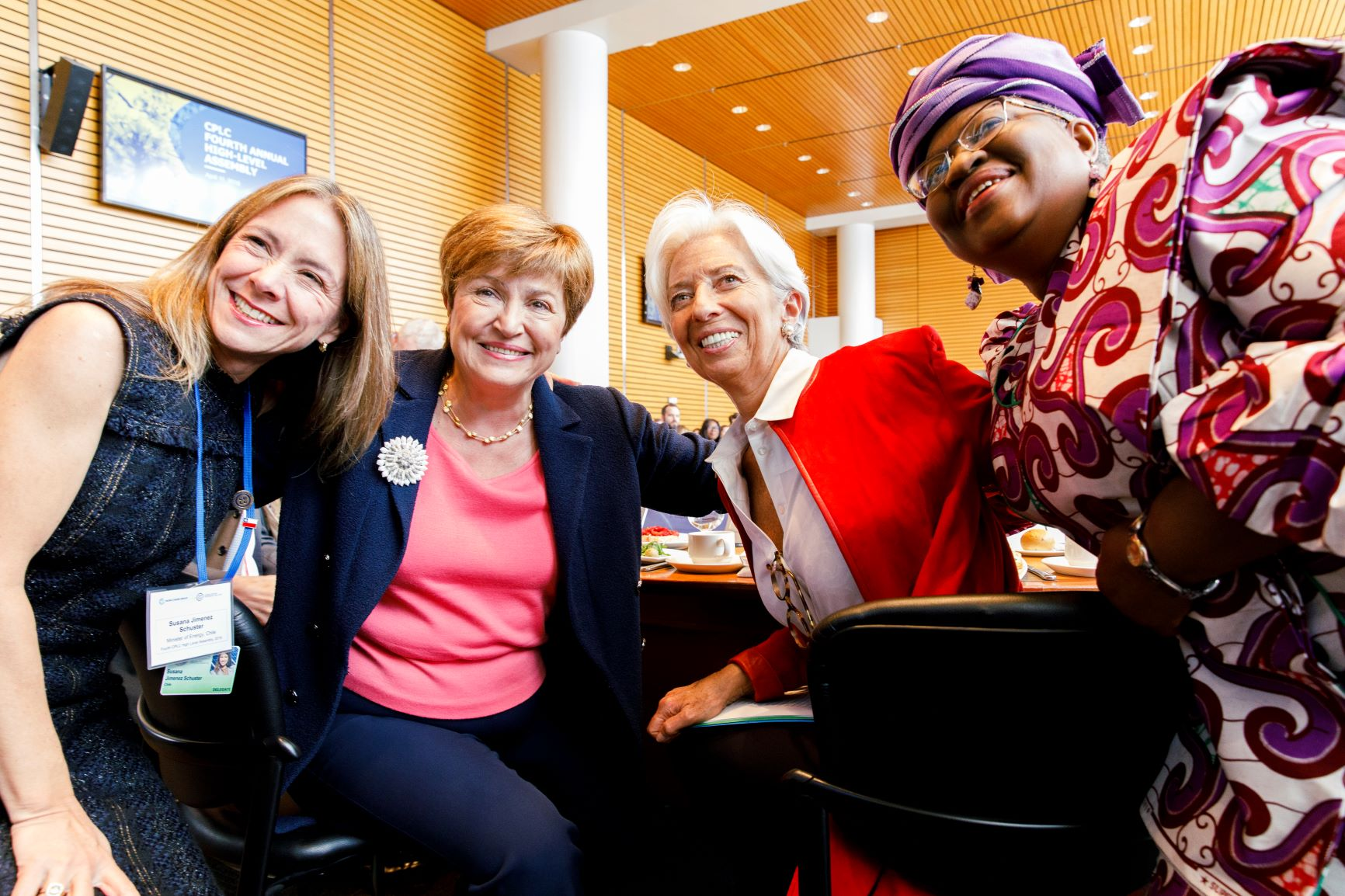 Susana Jiménez, Minister of Energy, Chile, Kristalina Georgieva, World Bank CEO, Christine Lagarde, IMF Managing Director, Ngozi Okonjo-Iweala, Co-Chair of the Global Commission on the Economy and Climate (NCE)