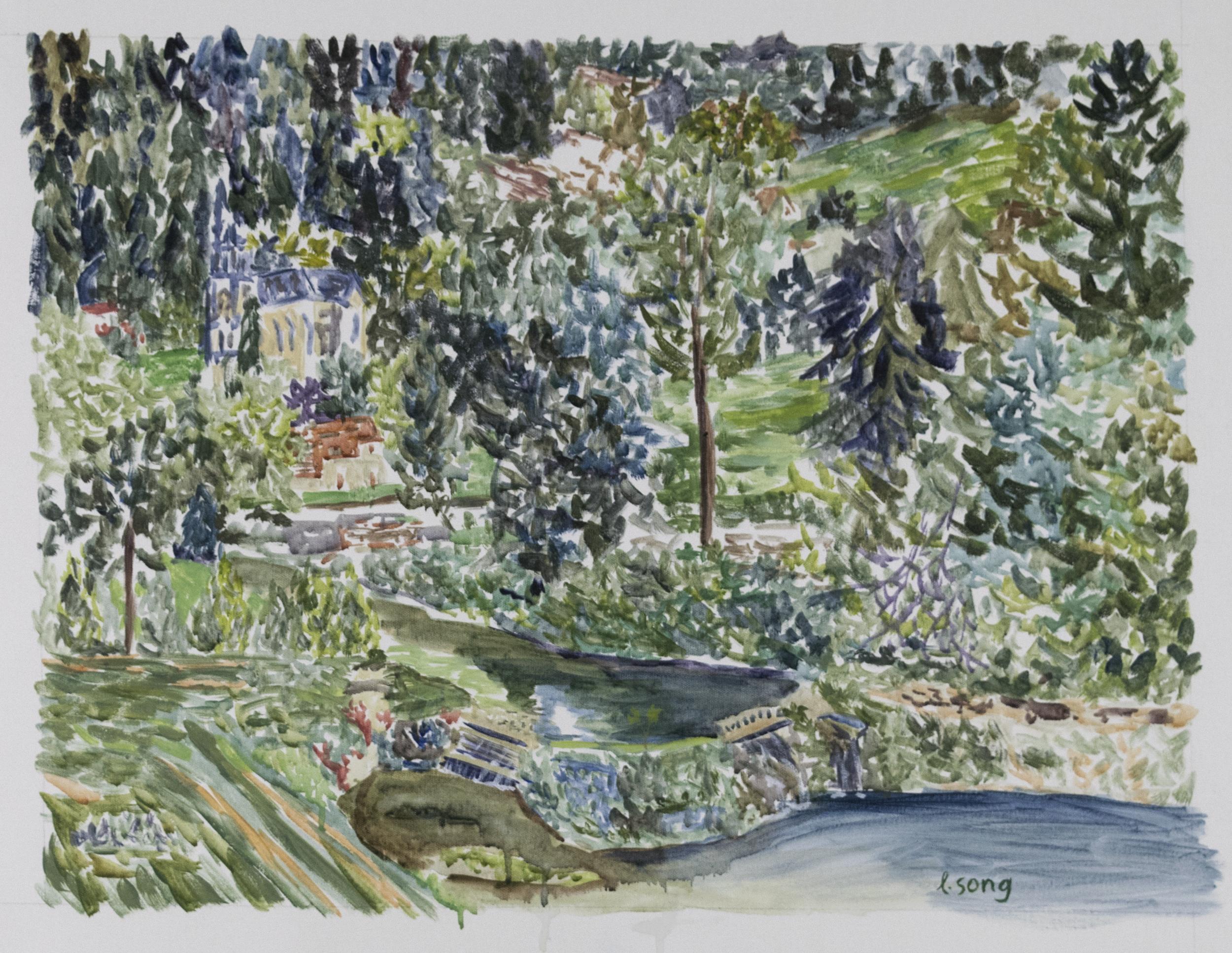 "Studio View No. 2 . 2018. Acrylic on canvas. 24"" x 18""."