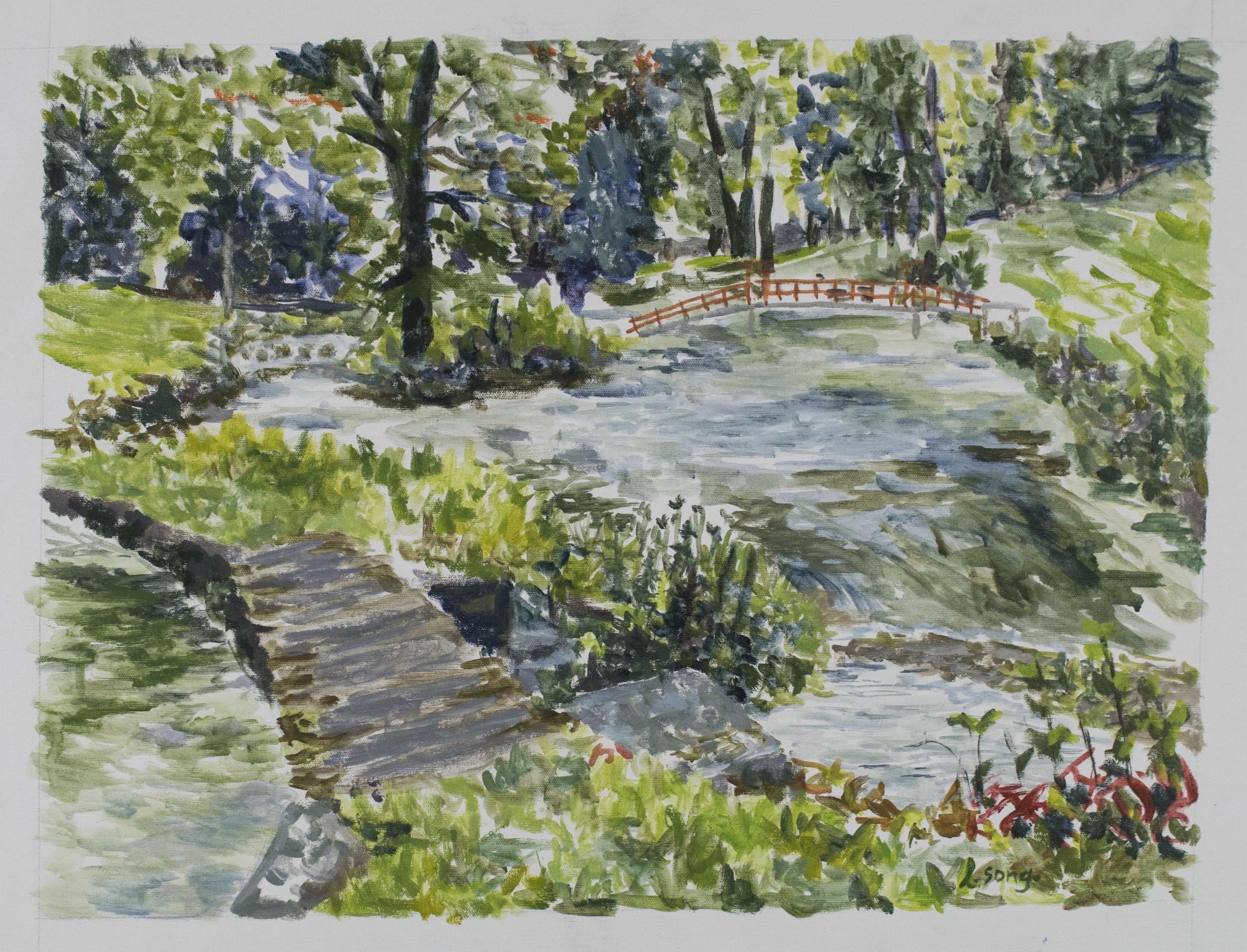 """Bridgeways . 2018. Acrylic on canvas. 24"""" x 18""""."""
