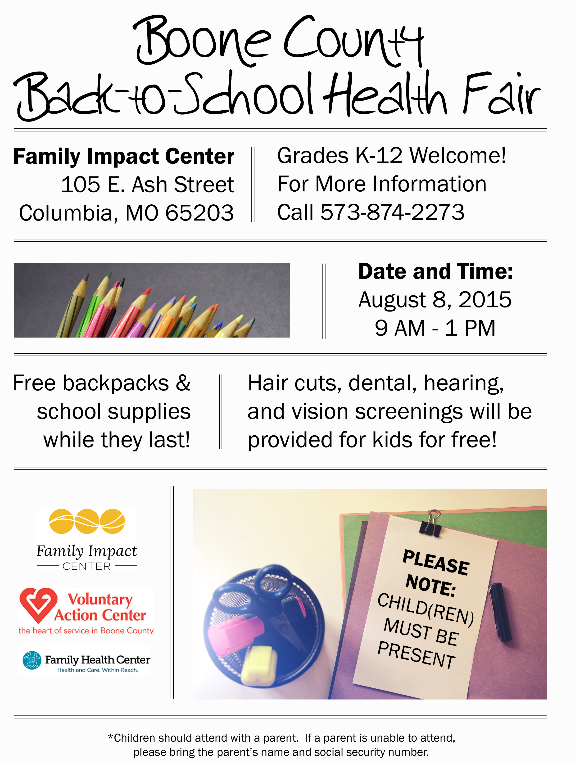 Flyer for Voluntary Action Center's Back-to-School Health Fair program to be distributed to clients and other social services agencies in Boone County.