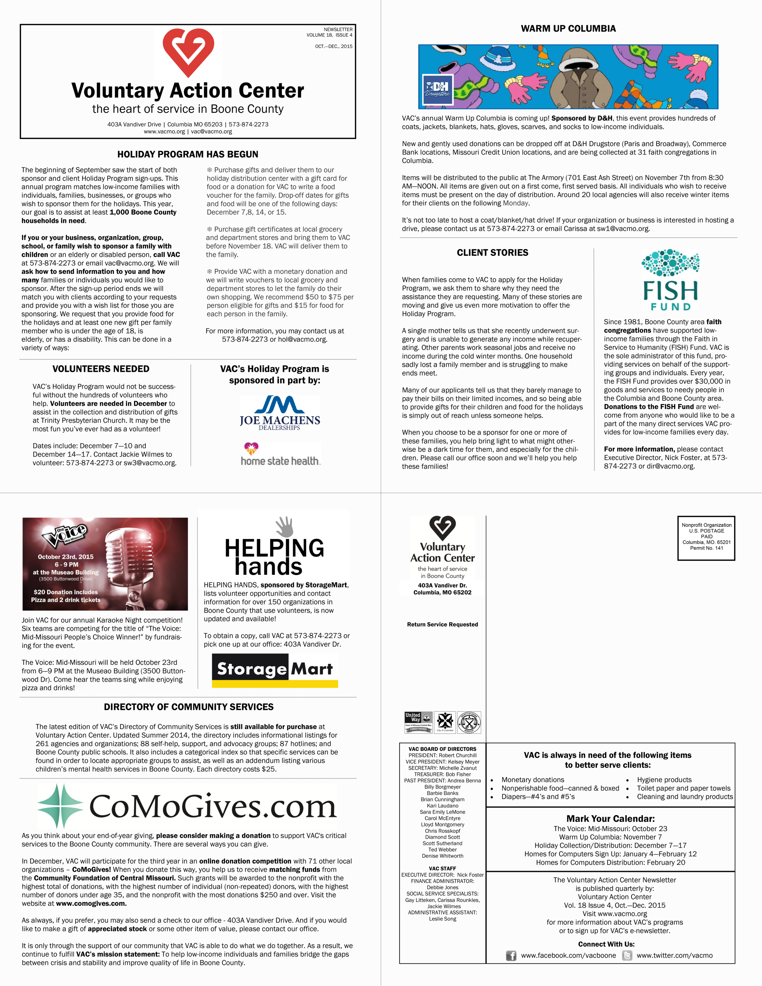 Newsletter designed for Voluntary Action Center sponsors and donors.