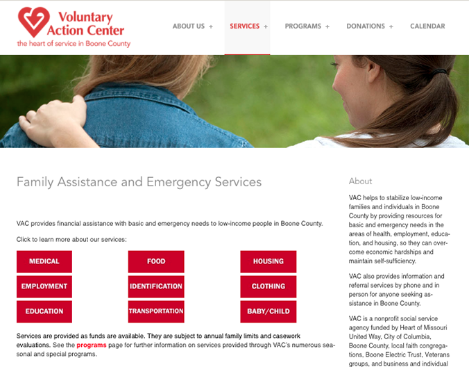 Web design that informs clients about the various services Voluntary Action Center provides. Previously, there was nothing on the website regarding this information.