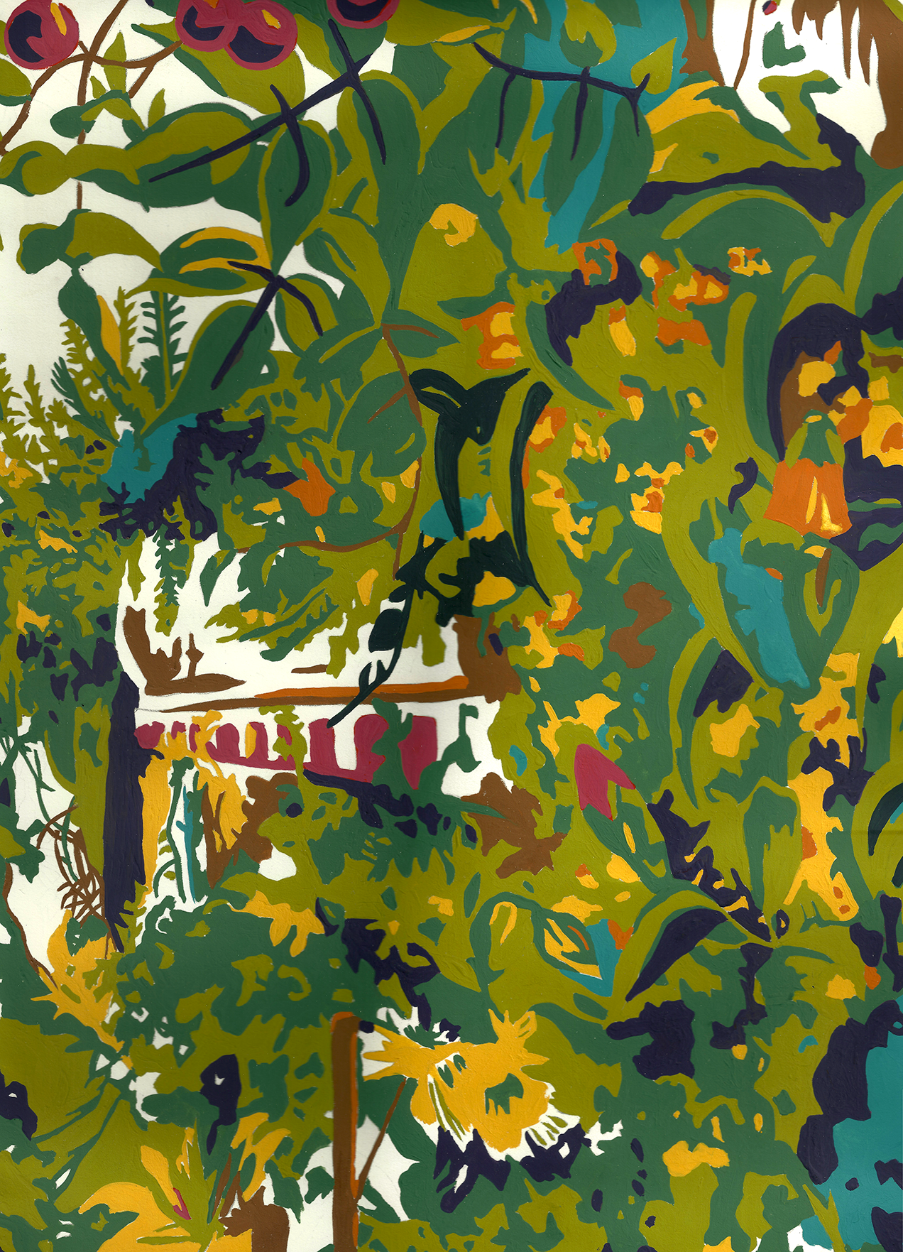 Wild Countryside No. 3 . 2016. 10-color separated design - Gouache on cold pressed paper.