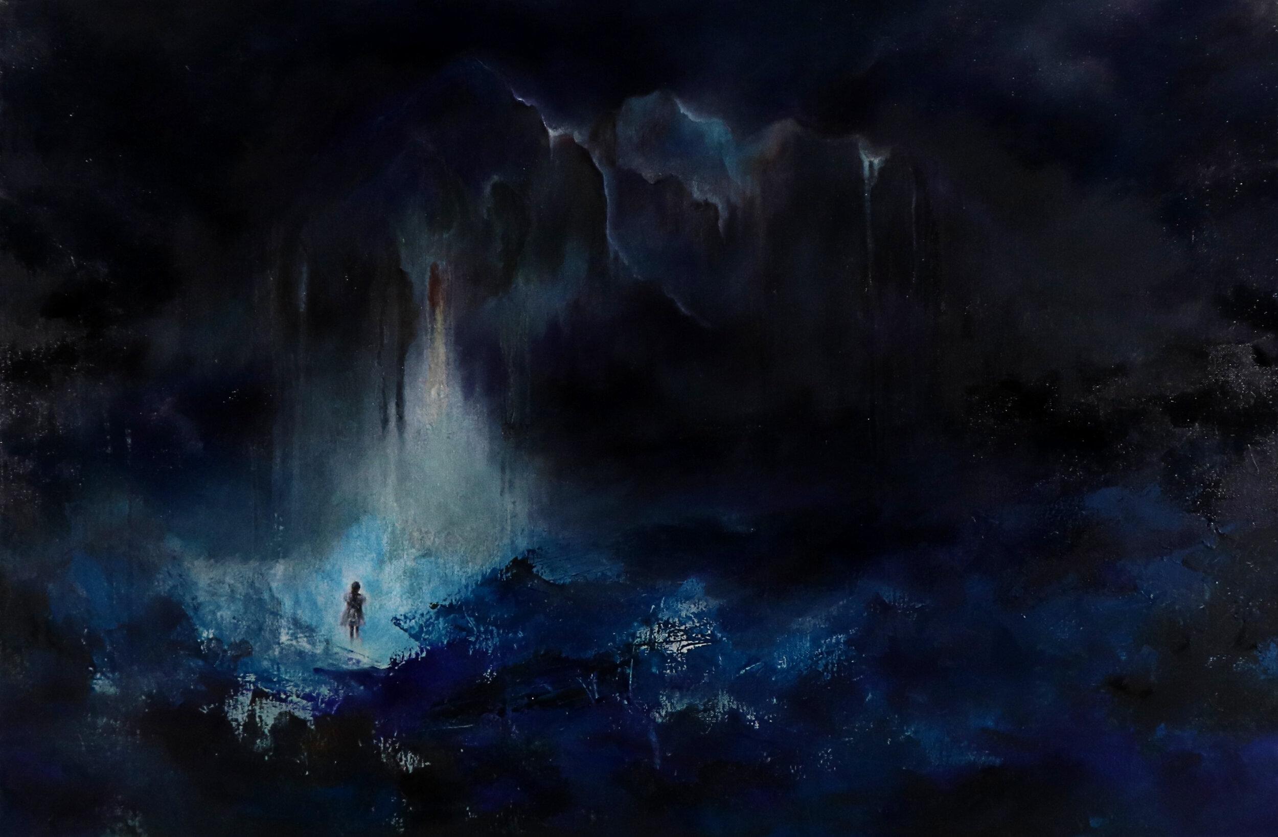 "Earth Grief.  2019. Oil on canvas. 36"" x 24"". $750."