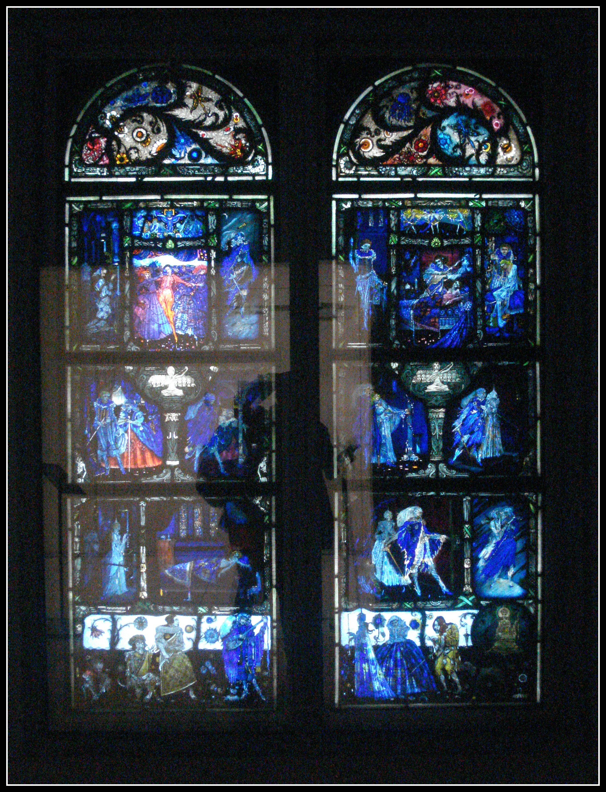 """""""The Eve of St Agnes"""" by Harry Clarke. As mentioned in a previous post (Irish Book Haul), photos simply cannot do it justice. Learn more about it here : http://www.hughlane.ie/eve-of-st-agnes-by-harry-clarke2"""