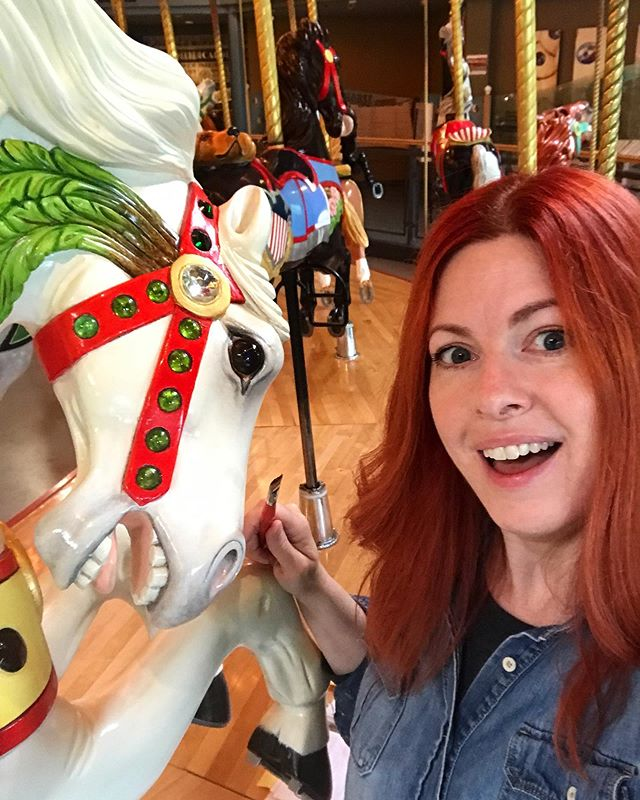 """Just horsin' around"" with some of my favourite ponies at @burnabyvillage  carousel. Doing my bi-annual beauty treatment. ❤️ #carousel #horses #burnaby #burnabyvillagemuseum #artist #painter #restoration #vancouverartist #vancouverisawesome #horselove"