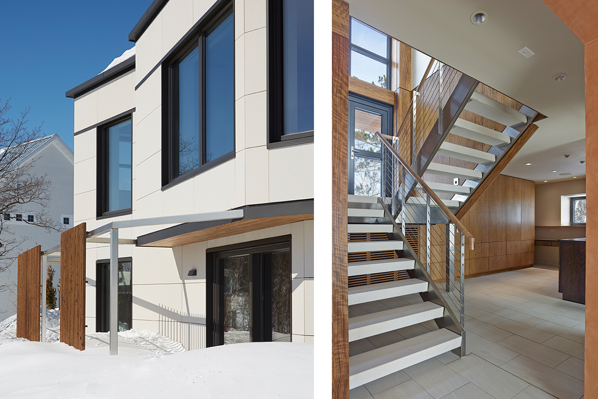- The existing building form is unchanged, however, 12 inches of insulation was added above and below grade along and high-performance windows and doors for a super-insulated, air-tight, enclosure that meets the rigorous Passive House requirements.With this investment in the building envelope, the heating load was reduced by 84% and the traditional forced-air heating system and large furnace room next to the stair was eliminated.This allowed a complete transformation of the lower floor into an open, daylight-filled, sculptural space with a fluid connection between floor levels, abundant built-in storage and a new usable room.