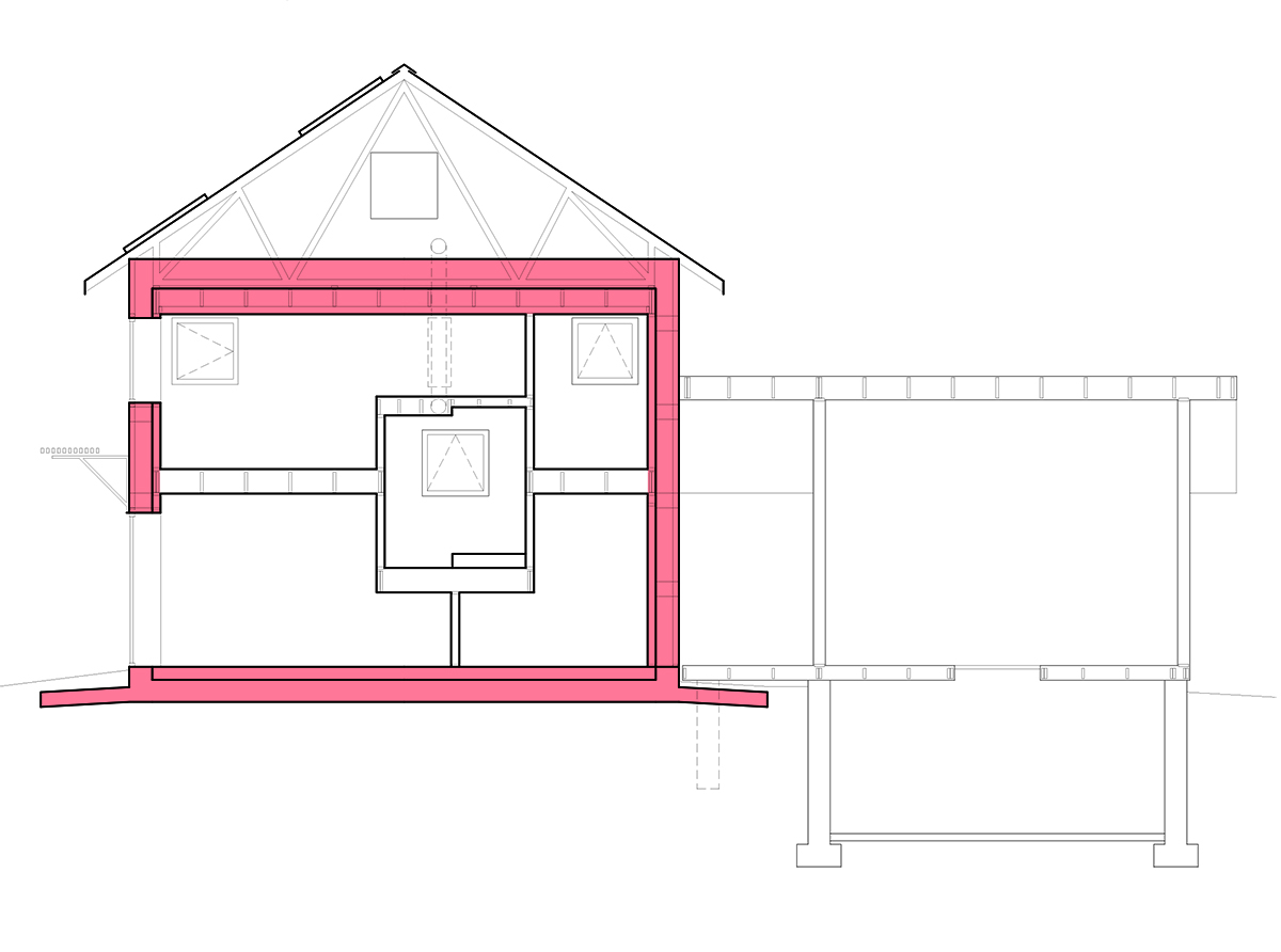 - The insulated enclosure is a compact cube without a basement or heated attic. Heat loss is greatly reduced because the exterior surface area is minimized. The simple form is very cost effective to build.A concrete slab-on-grade foundation, exposed as the floor finish, is surrounded by 12 inches of EPS foam. The additional insulation is cost neutral as the thick foam is also utilized as the concrete formwork.Trusses installed on the top of the cube create a traditional-looking roof and a pitched surface for solar panels.The adjacent screen porch and root cellar expand the summer living space outside and offer unheated storage and tornado shelter.