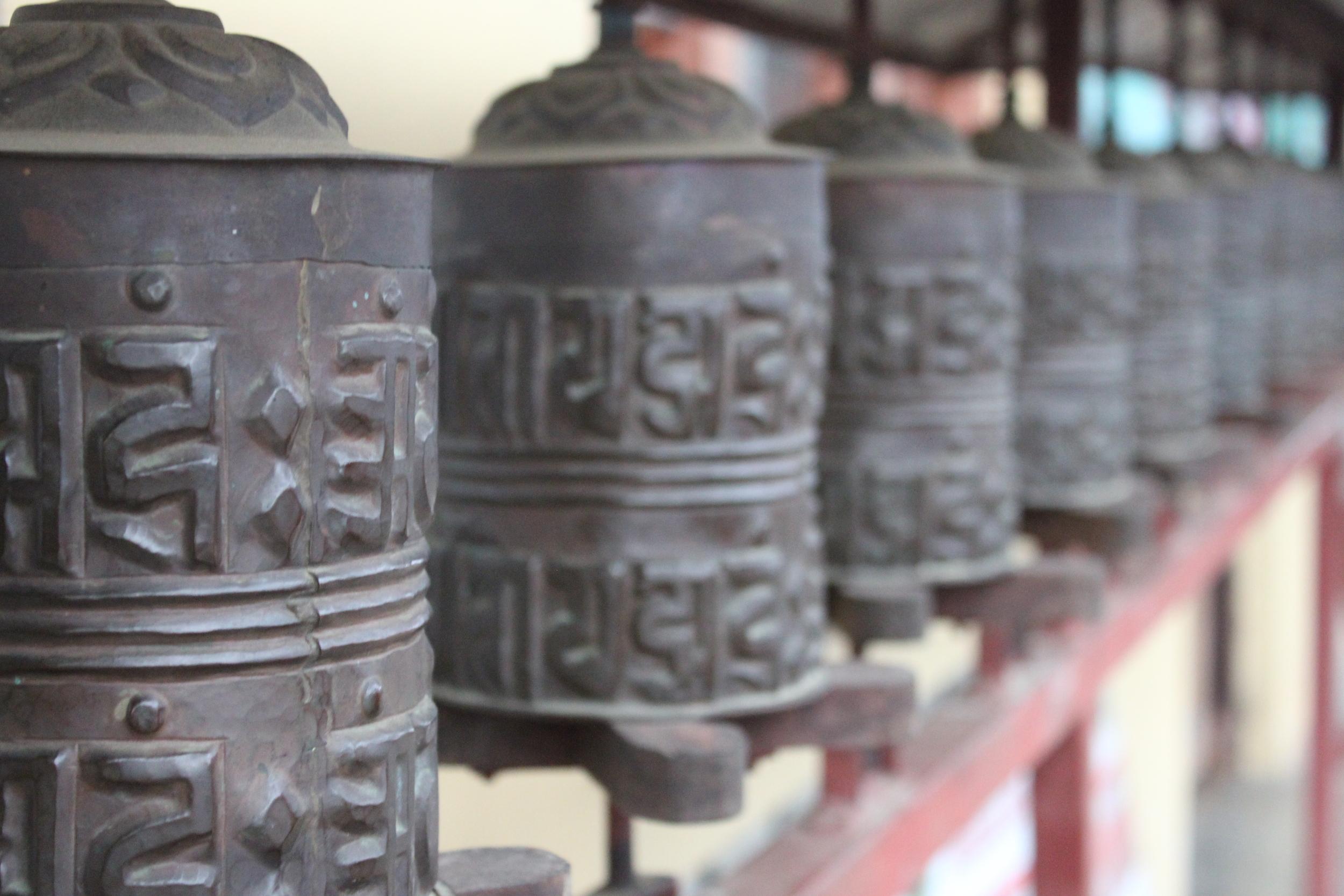 Buddhist prayer wheels in rural community in the Annapurna region of Nepal