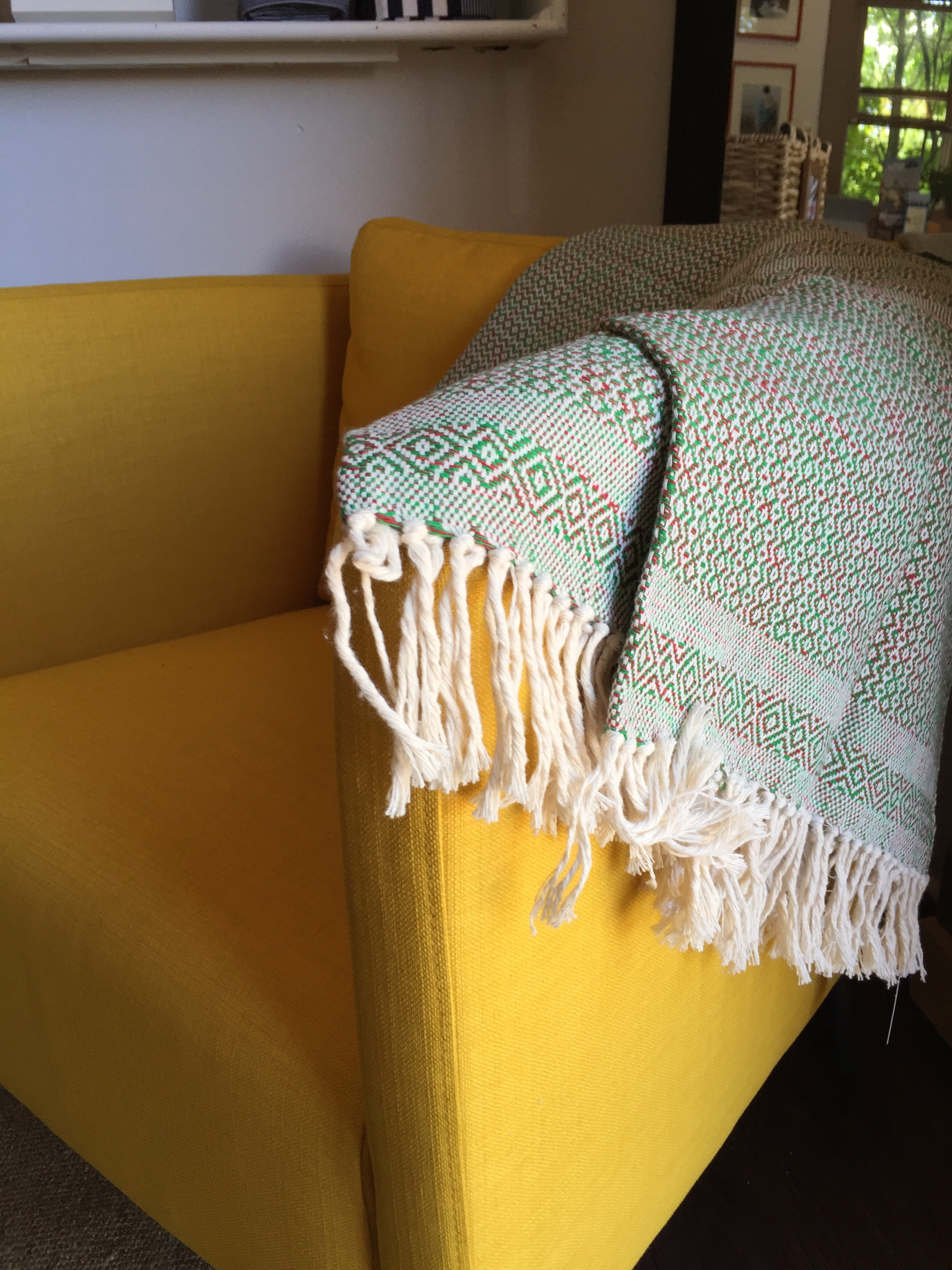 Our   Tuza   throw in the colors of Alpha Chi Omega sorority