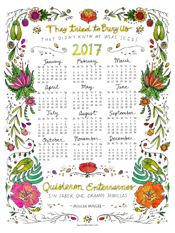 "Marcella Kriebel Art + Illustration - 2017 Watercolor Calendar $20  Digital print of a watercolor and pen and ink illustration. Features a variety of seeds, flora and sprouting plants with the Mexican Proverb ""They Tried to Bury Us; They Didn't Know We Were Seeds"" in both English and Spanish."