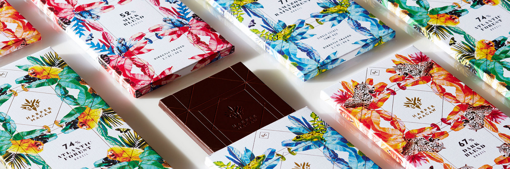Harper Macaw - Chocolate Bar $9   Founded by a Brazilian chocolate maker and a U.S. Marine Veteran with an ambitious yet tangible objective: To turn chocolate into a force for tropical reforestation.
