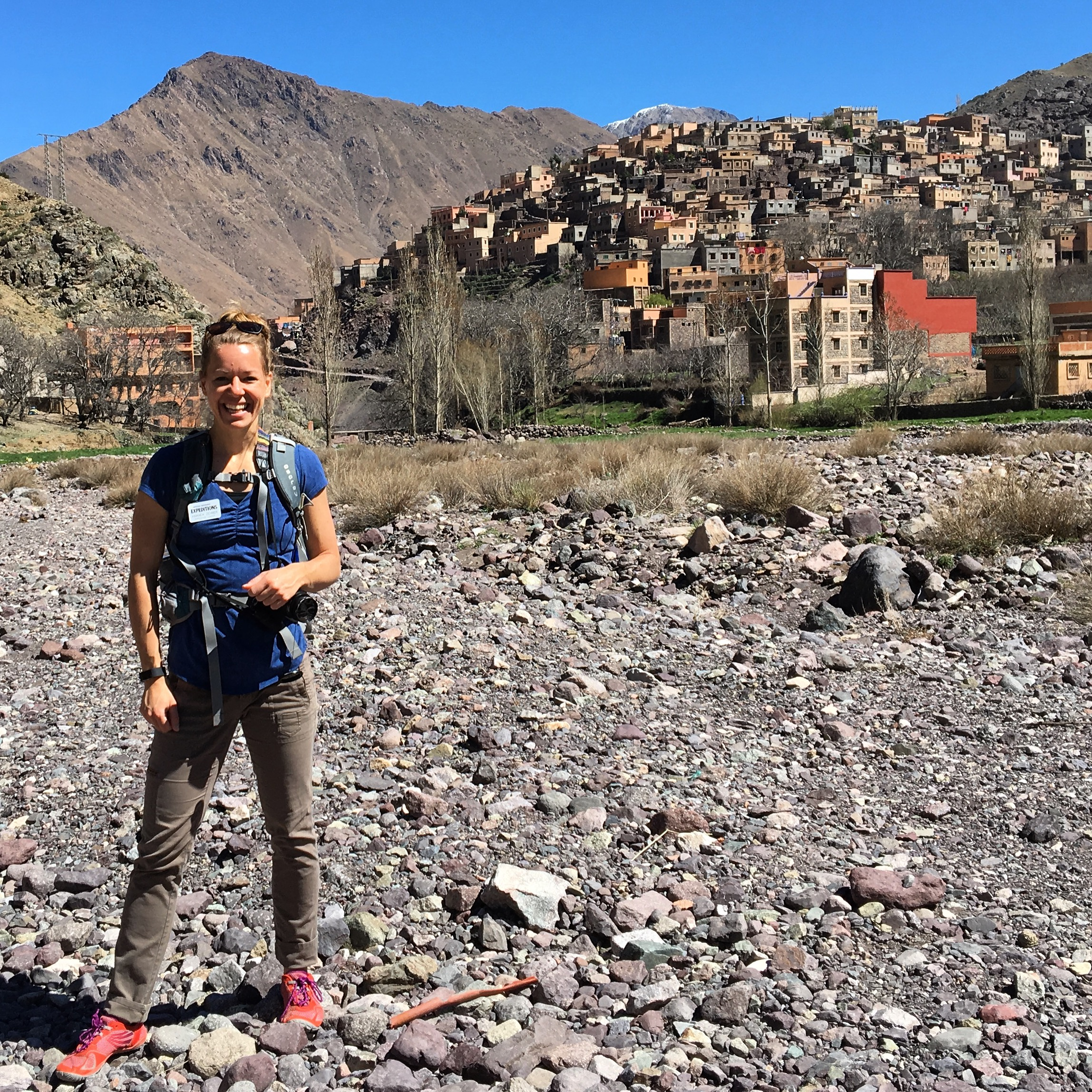 Living Threads Co. founder Amanda Zehner in the High Atlas, Morocco.
