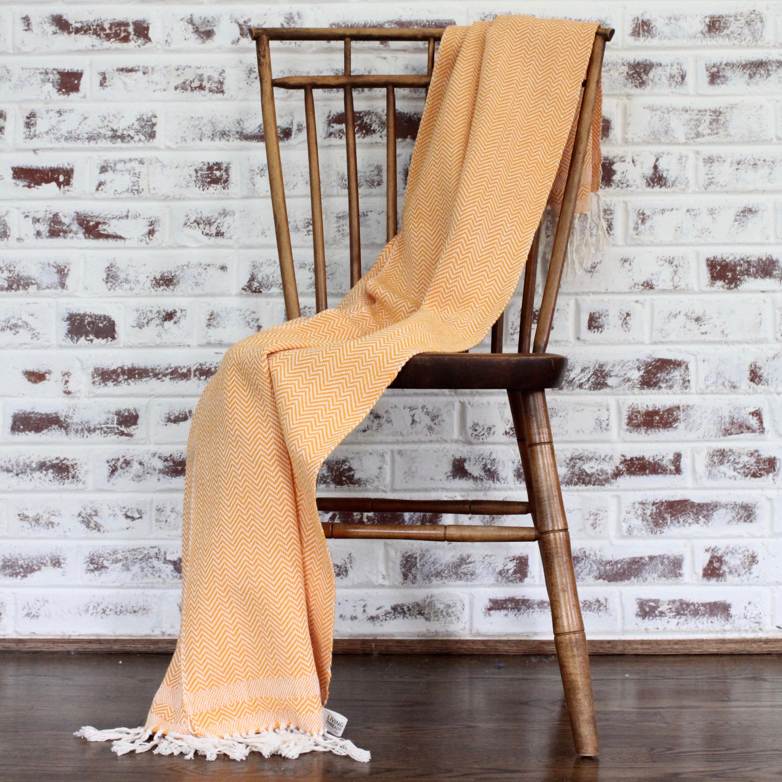 Herringbone Throw in Orange