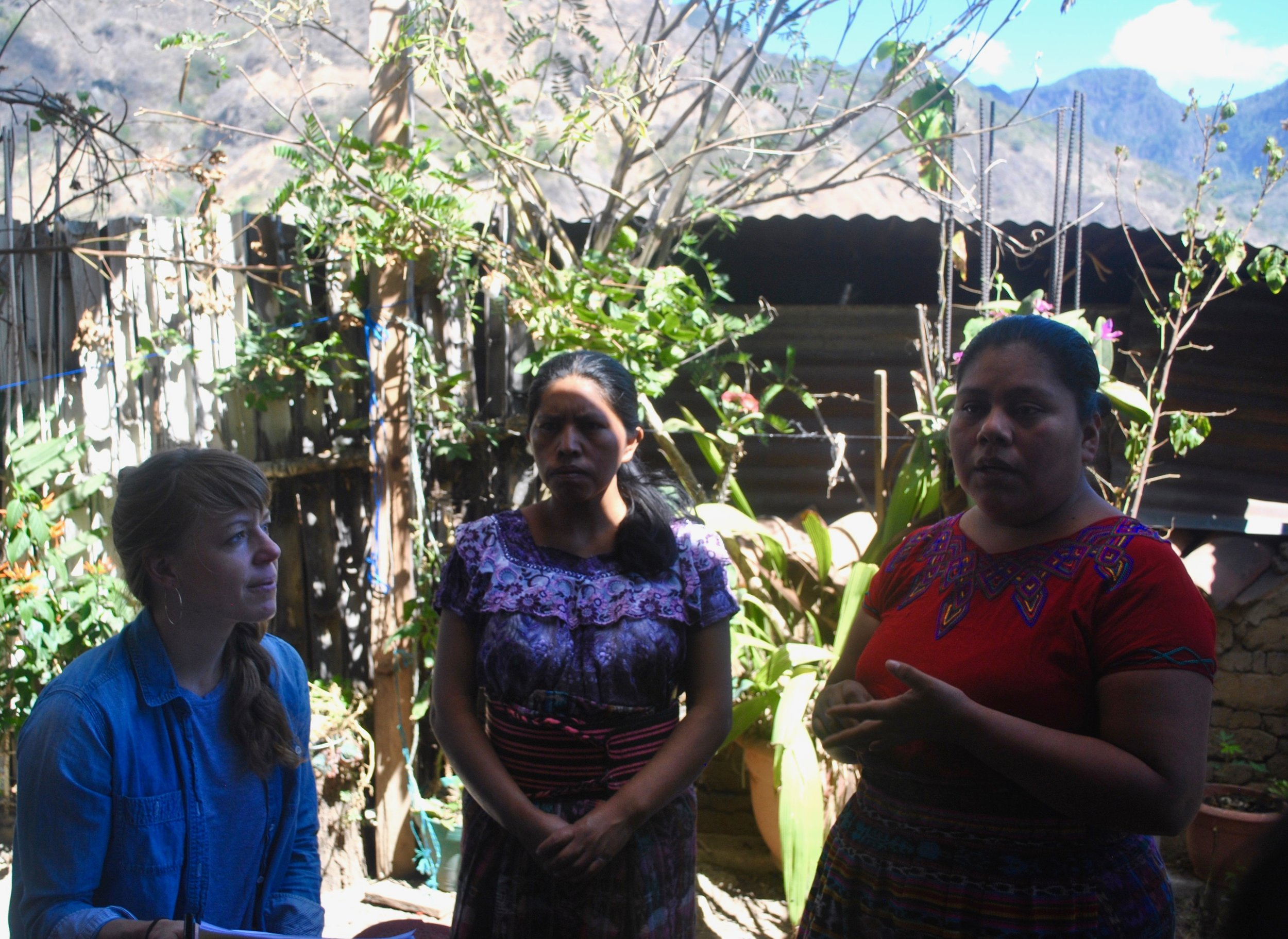 Amanda Zehner (Founder & CEO) discussing product development with Amalia and Alejandra at Tinte Maya.