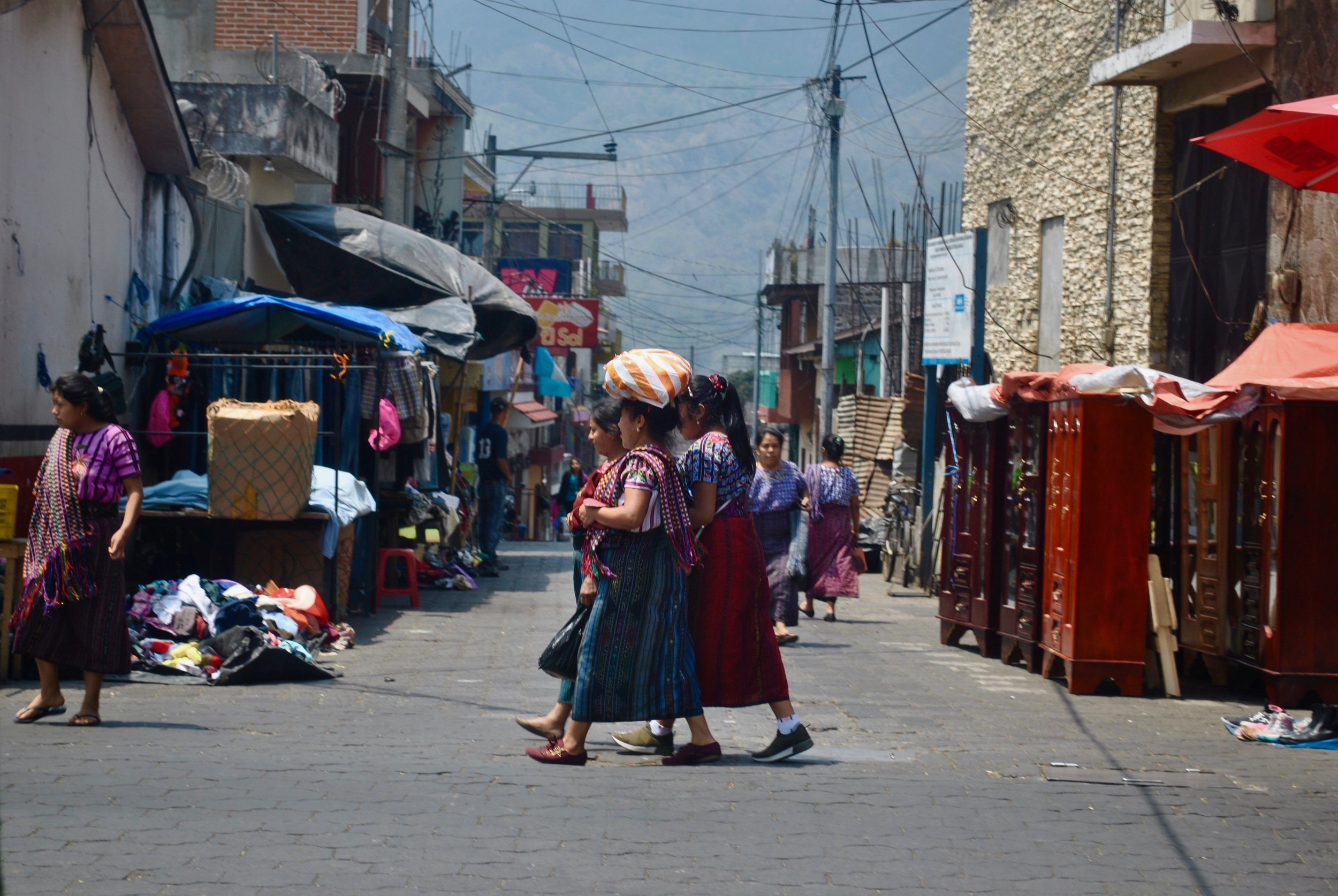 A group of women walking in Santiago, Guatemala.