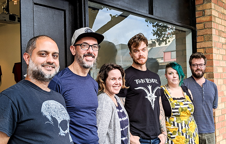 Image: (Left to Right) Roy Ananda, Tamara Baillie, Aaron Schuppan, Angelique Joy, Andrew Purvis Absent: Nancye Turnbull Photograph by Kate Kurucz
