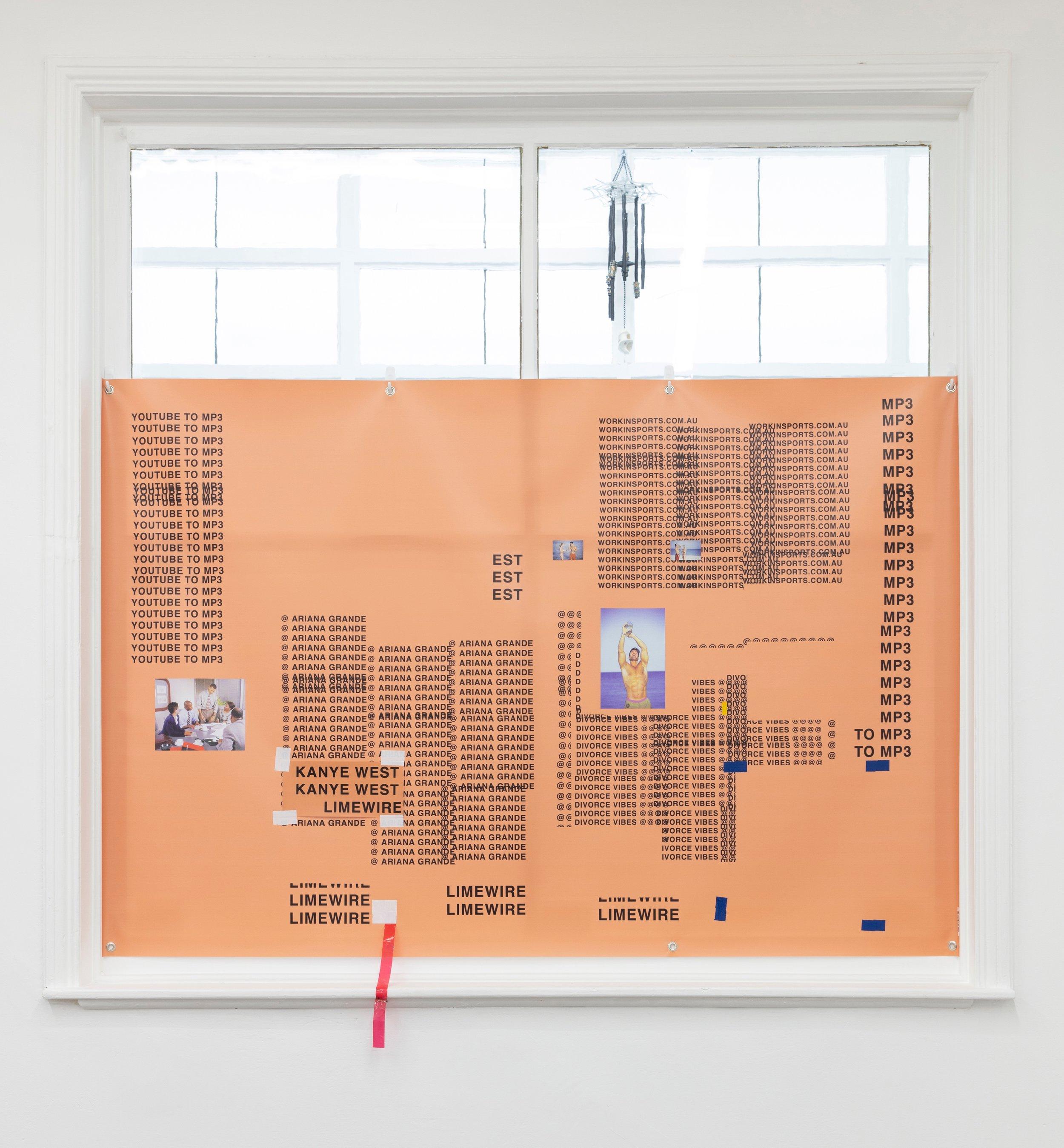 Image: Matt Brown, Divorce Vibes, 122 x 180 cm, 2018, Digital vinyl print and cloth tape, photography by Bo Wong
