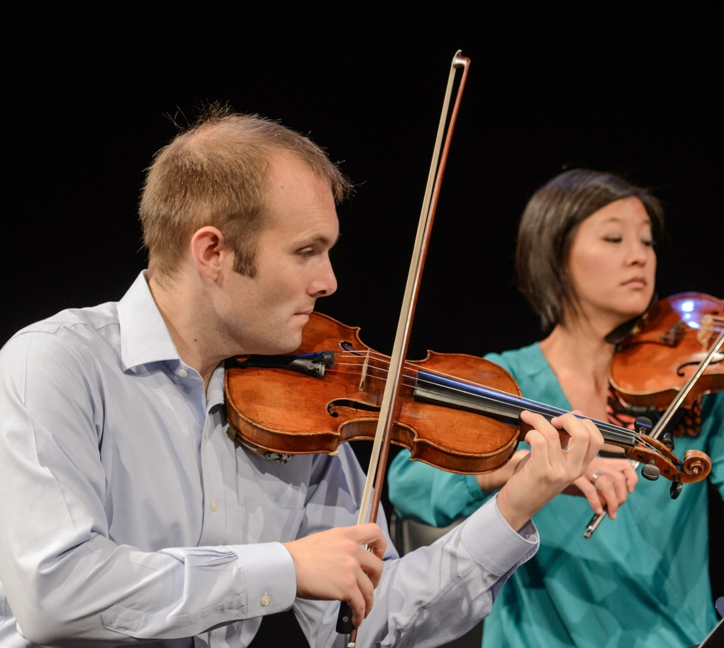 J Freivogel, violin (also picture, Karen Kim)