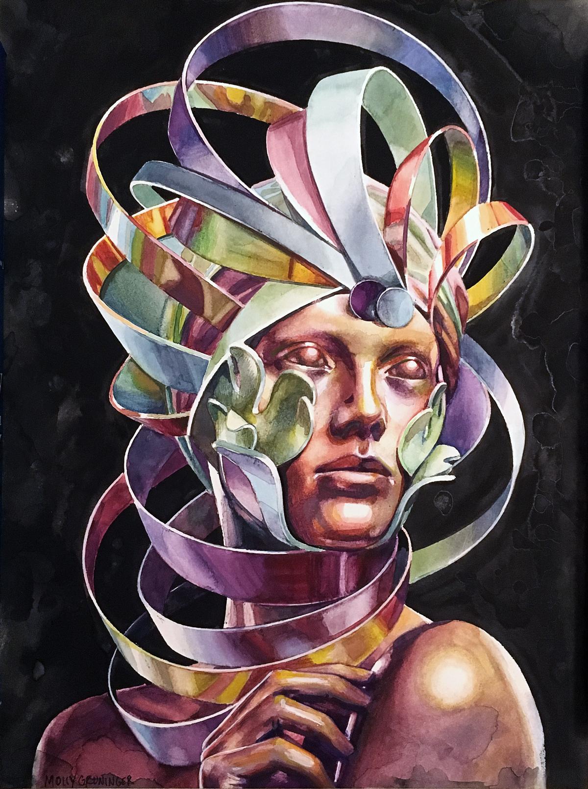 "Eidolon.   Watercolor & Acrylic on Paper, 11""x 14.5"""