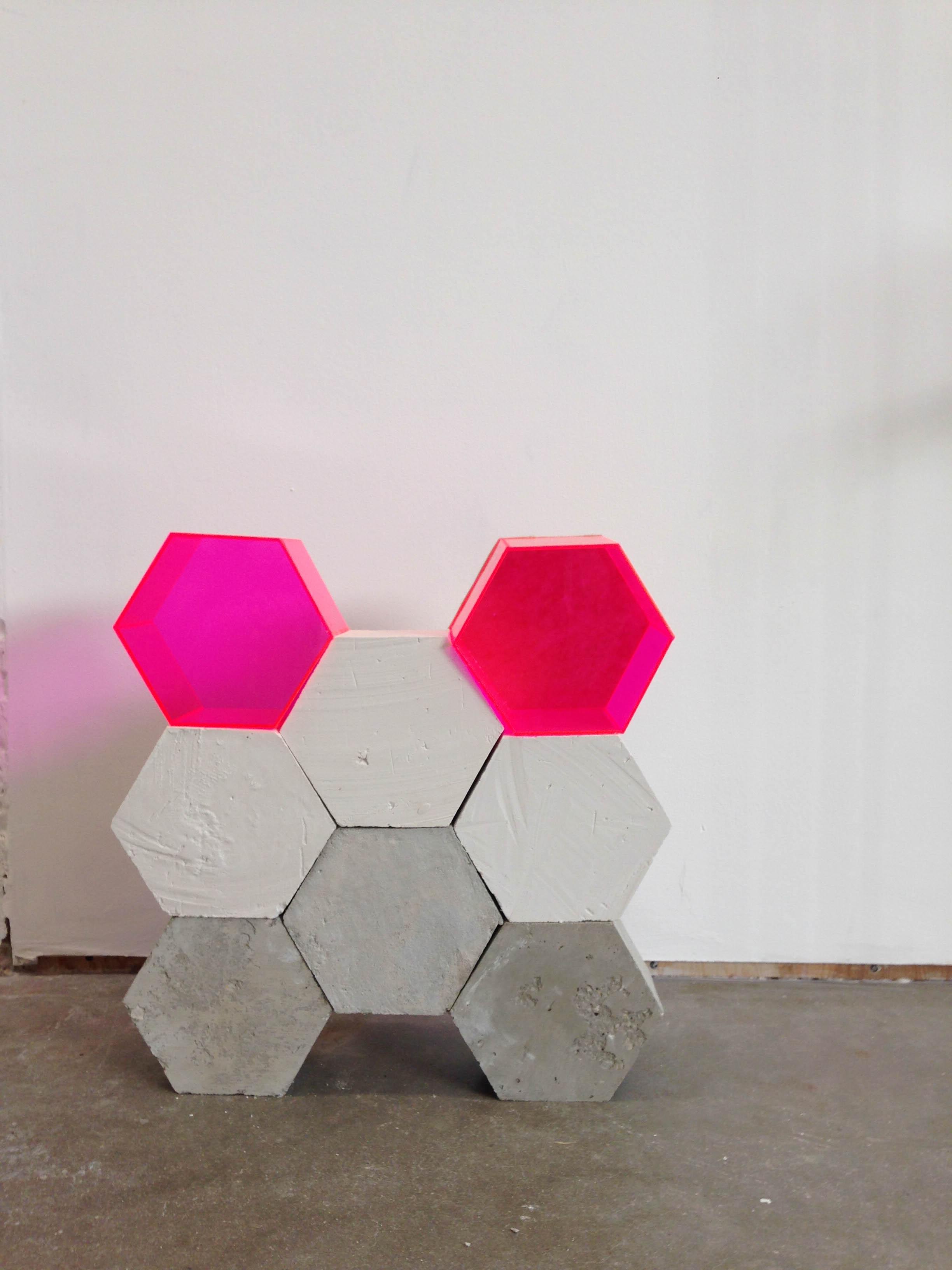 Walls   1.5' x 2'; cement, plaster, plexiglass