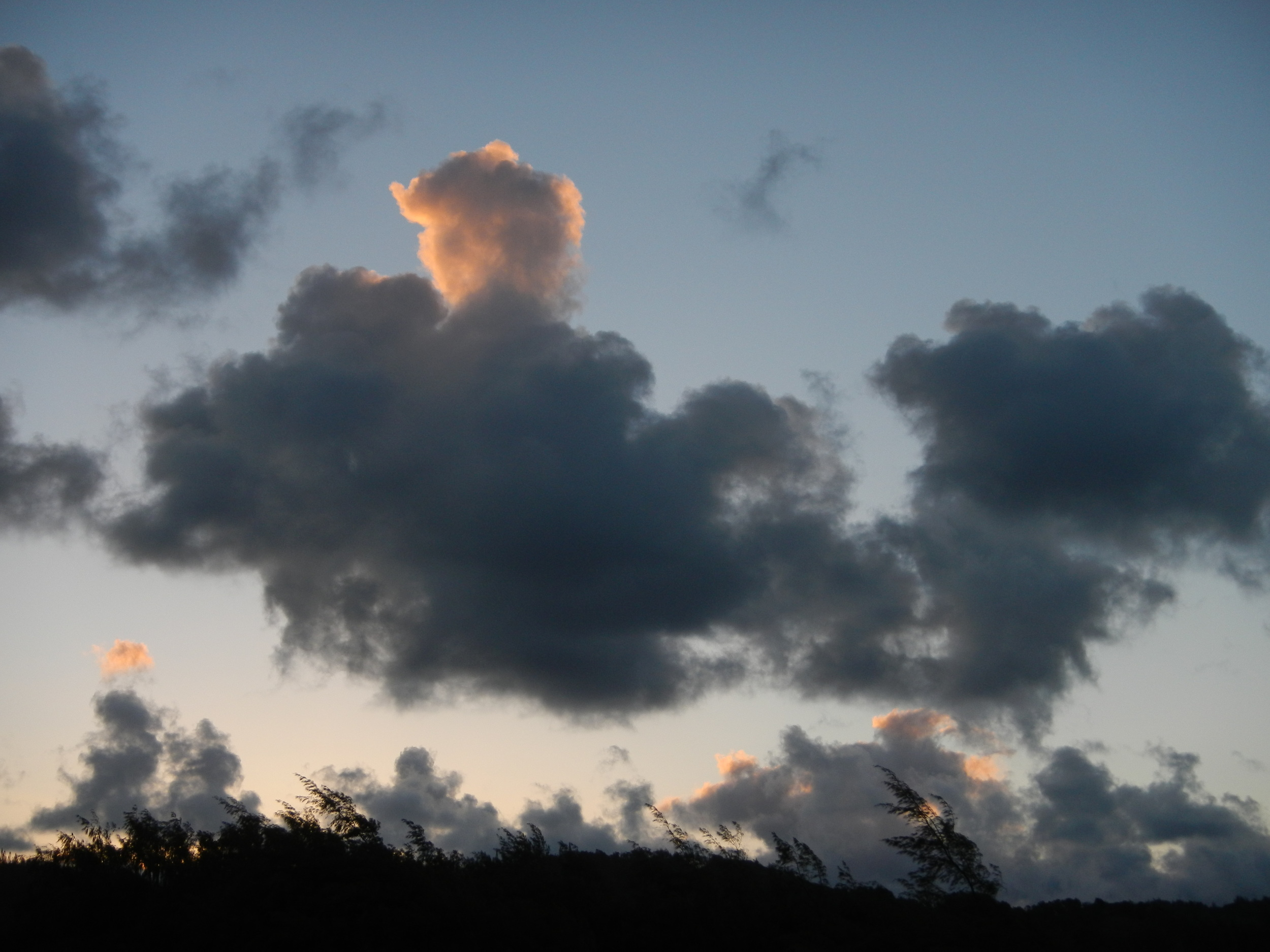 LIke the way the setting sun is hitting the top of the cloud