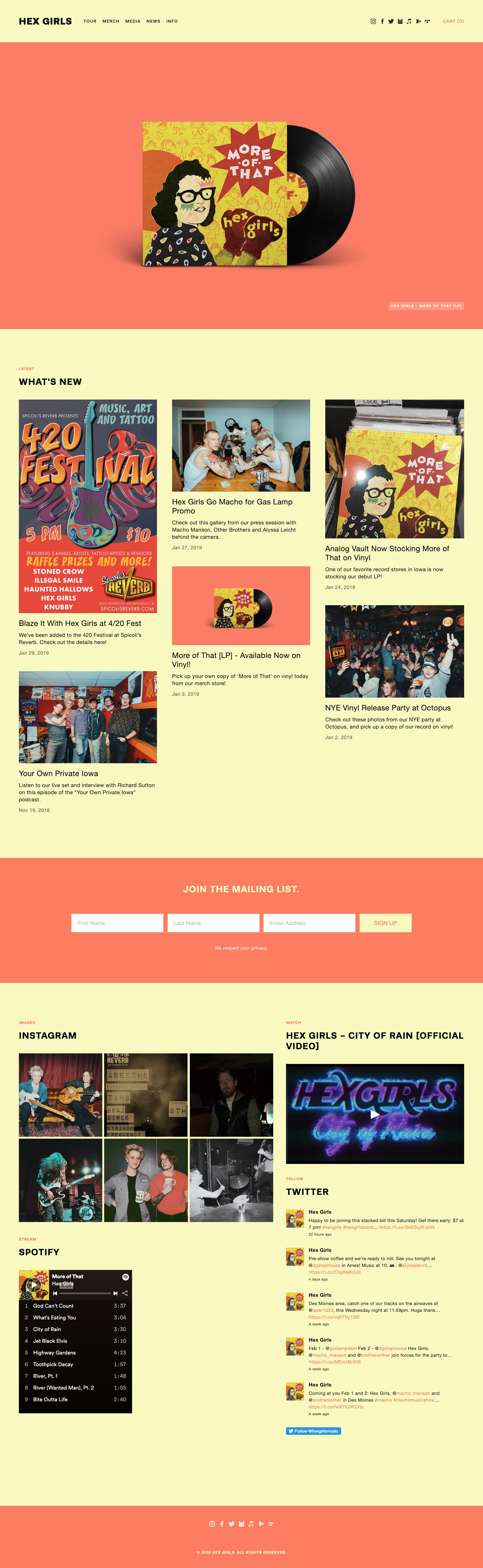 Hex Girls website home page - Designed by Alyssa Leicht