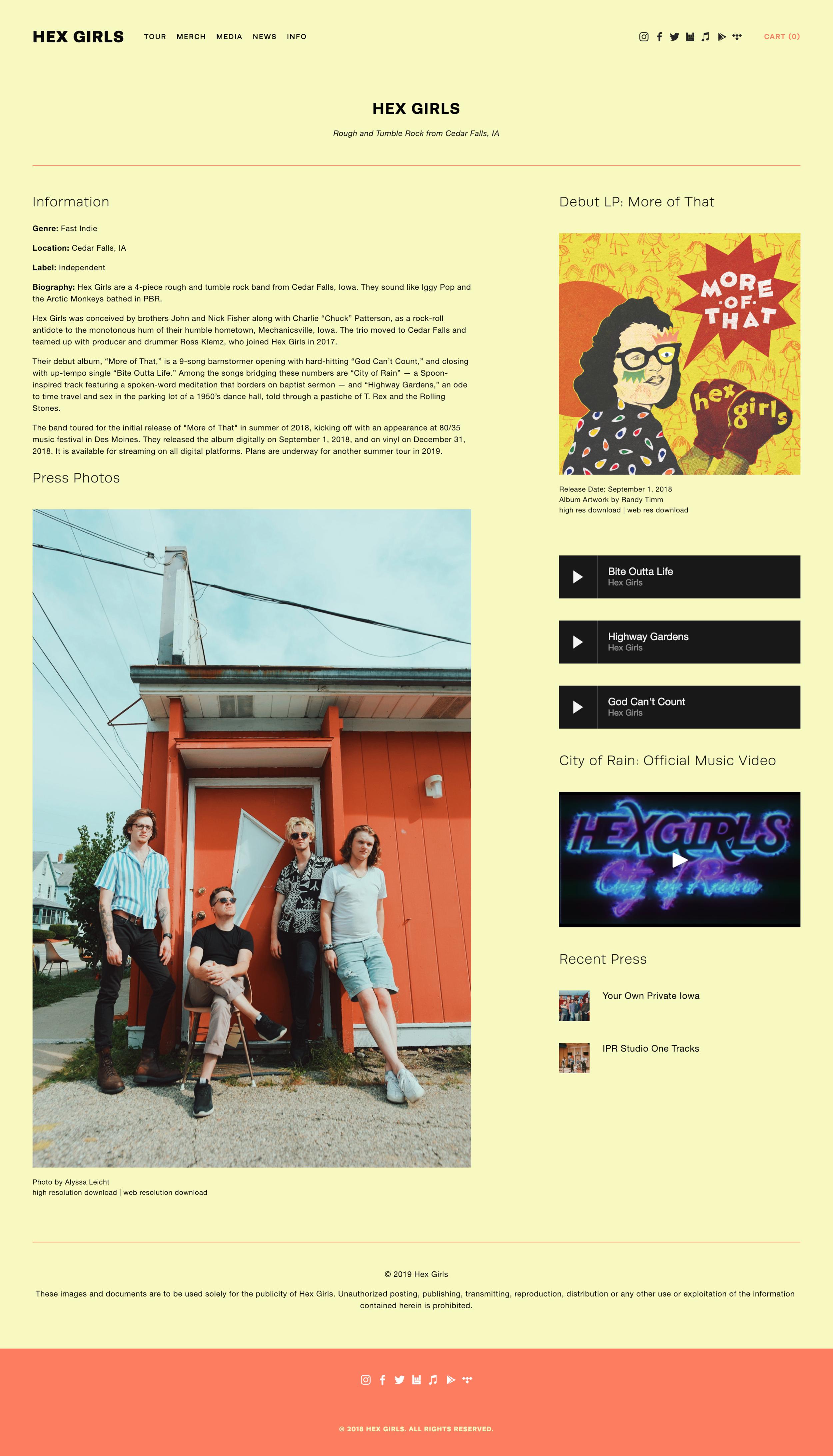 Hex Girls website EPK page - Designed by Alyssa Leicht