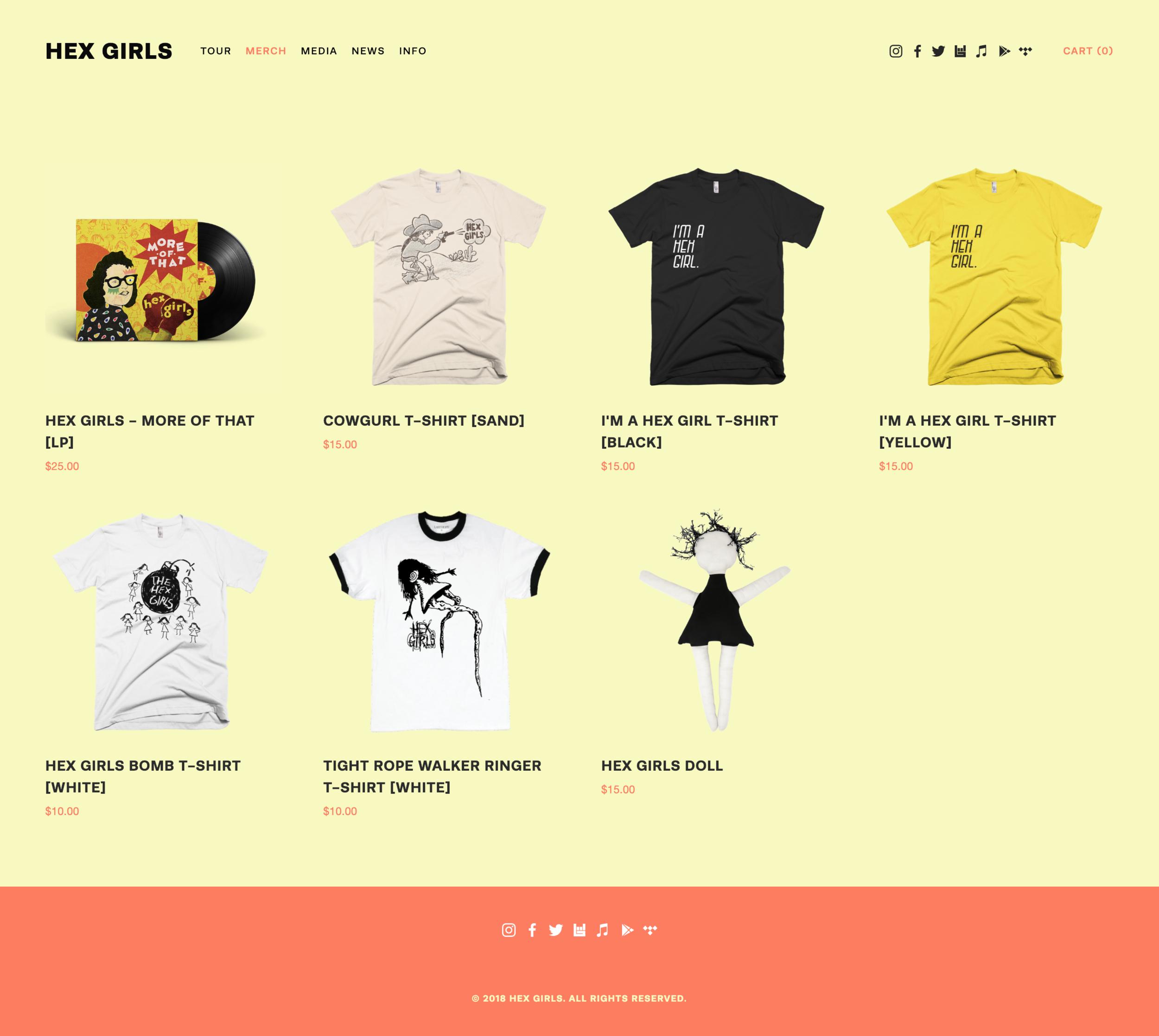 Hex Girls website merch store - Designed by Alyssa Leicht