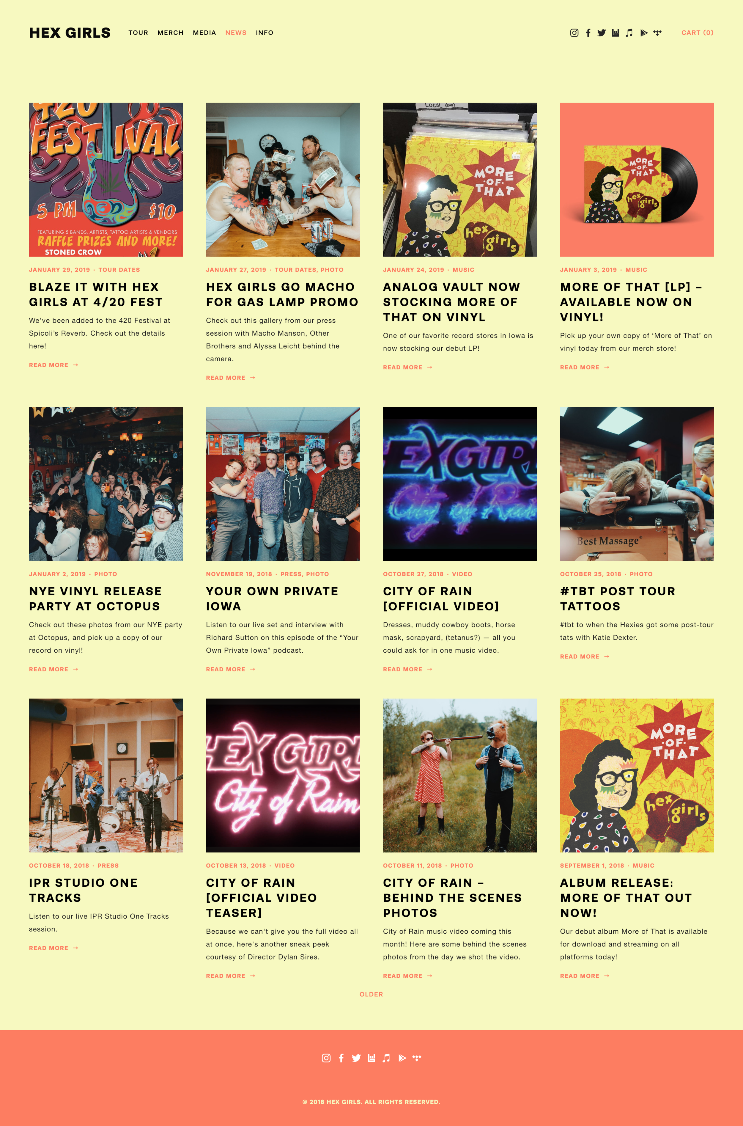 Hex Girls website blog page - Designed by Alyssa Leicht