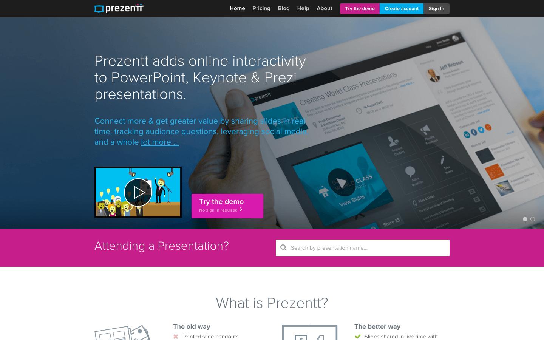 Prezentt - Home Page - Web App Development