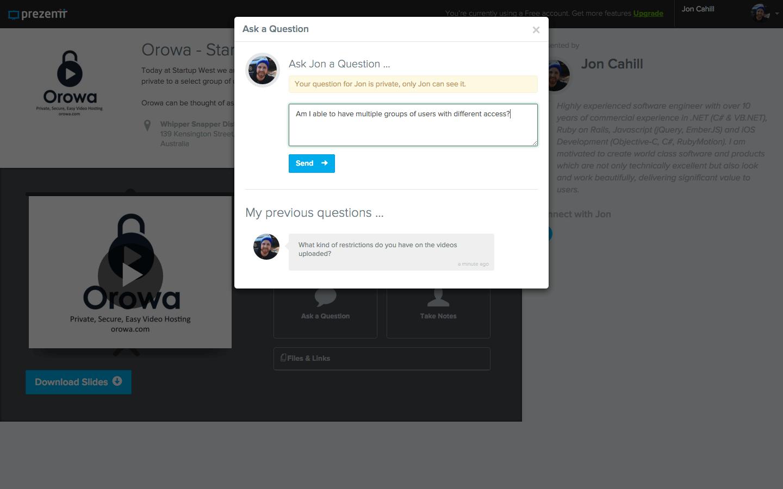 Prezentt - Ask a Question - Web App Development