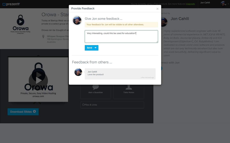 Prezentt - Give Feedback - Web App Development