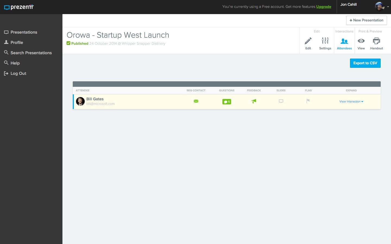 Prezentt - View Attendees - Web App Development