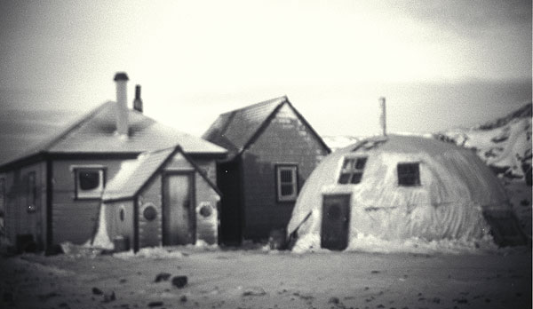 Peter Pitseolak's wooden house and quarmak, circa 1940-1960
