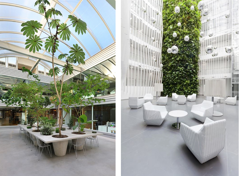L to R: Paul de Ruiter Architects and KKCG Building - VRTISKAZAK   Use height and scale to create a sense of abundance in large atriums and open office spaces.