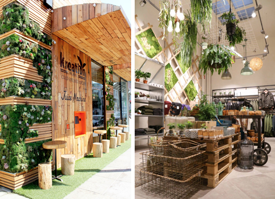 Vertical gardens as well as pot plants and hanging pots can be used to make a space more appealing to customers. Images via  Steamed not Fried  and  Vtwonen.