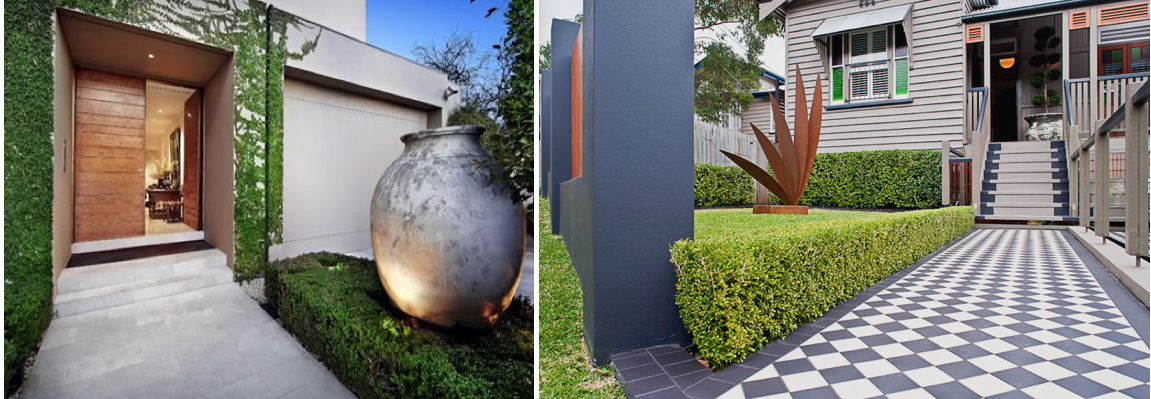 Images L to R via  Glamour Drops , Designer: Sue Carr x Paul Bangay and  The Small Garden