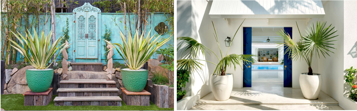 Images L to R via The Small Garden and  Away in Style , Designer: Stuart Membery
