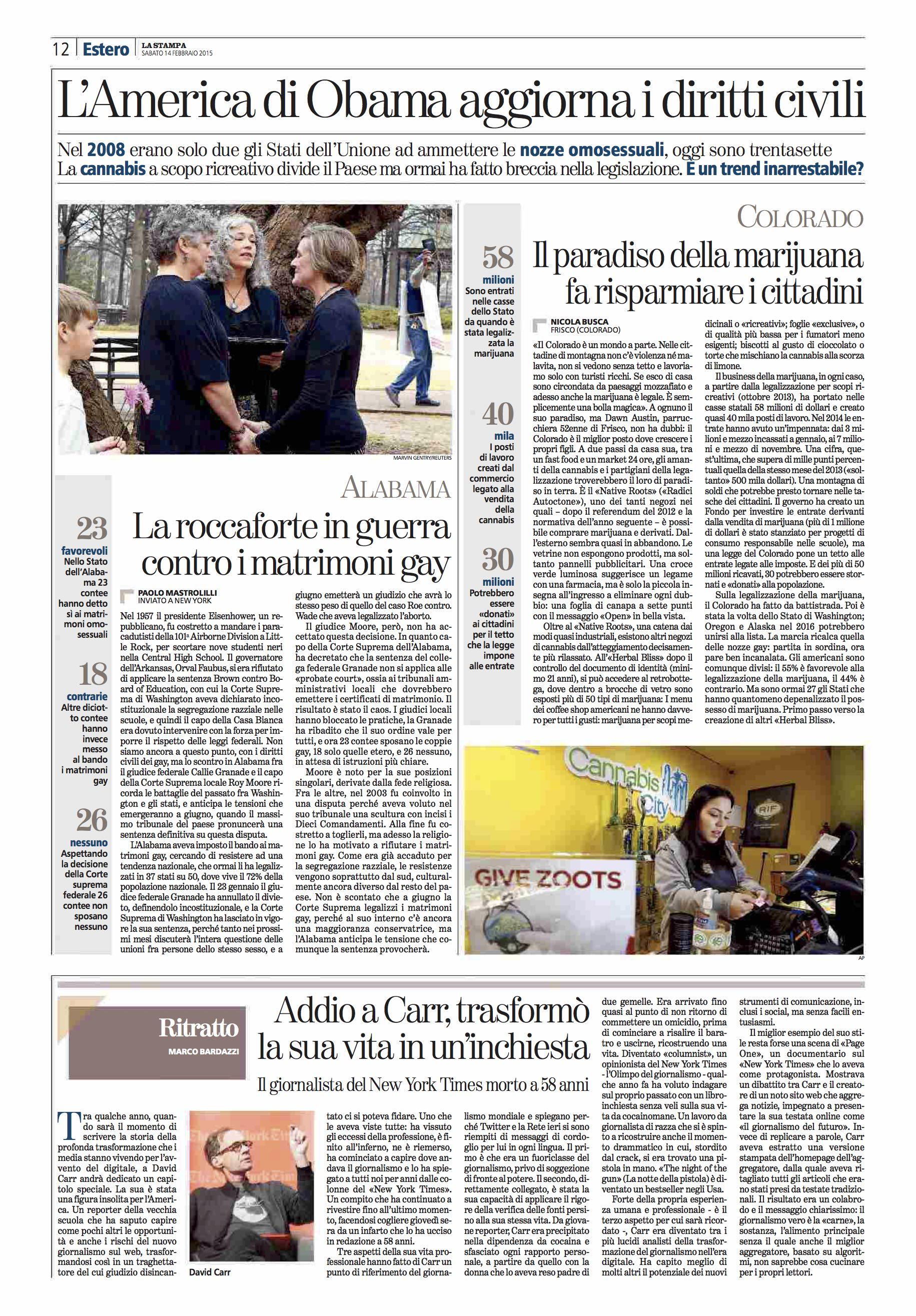 La Stampa (ITA). Reportage on the marijuana incomes in Colorado. 02-14-15