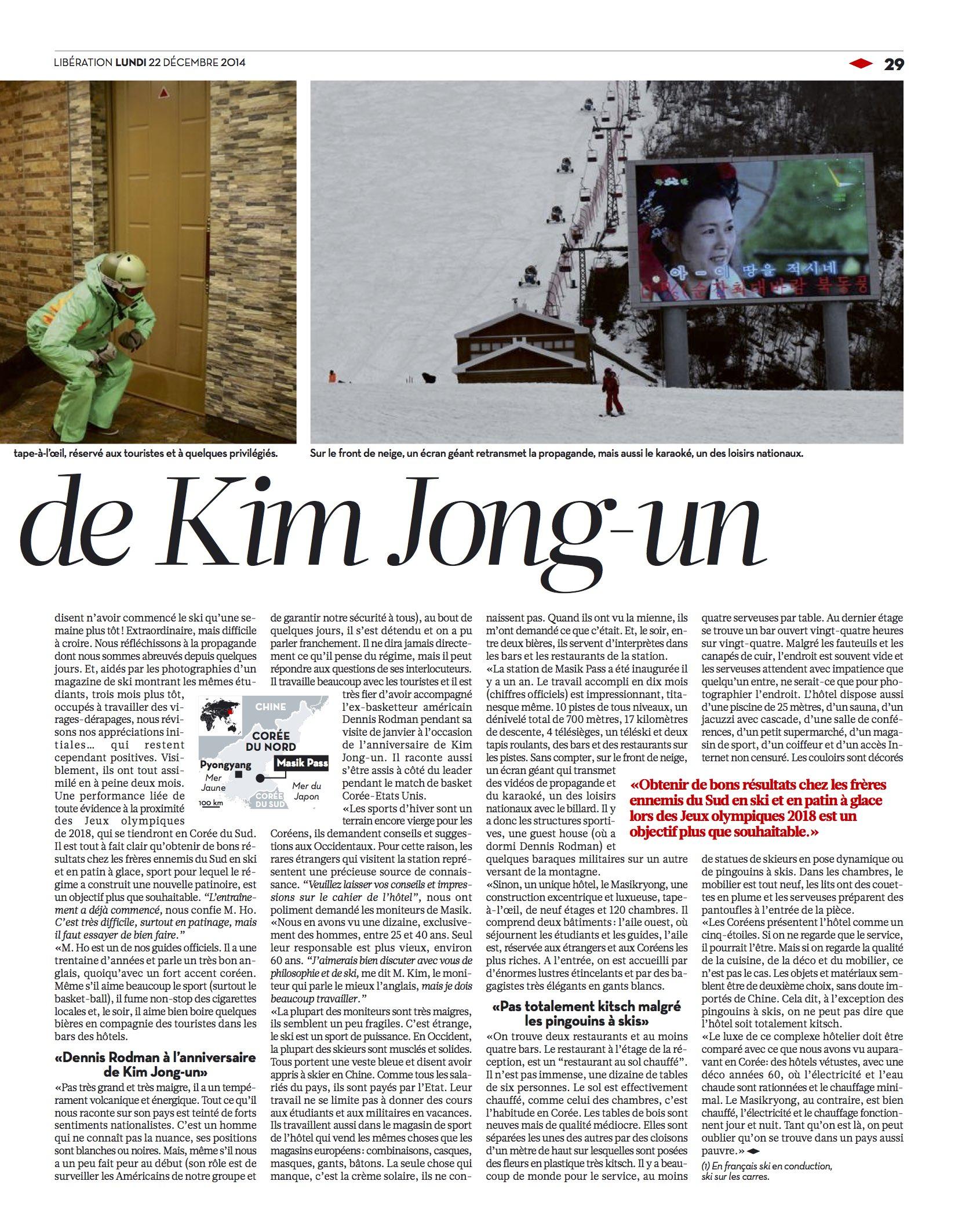 Libération (FRA). Ski in North Korea. 26-12-14