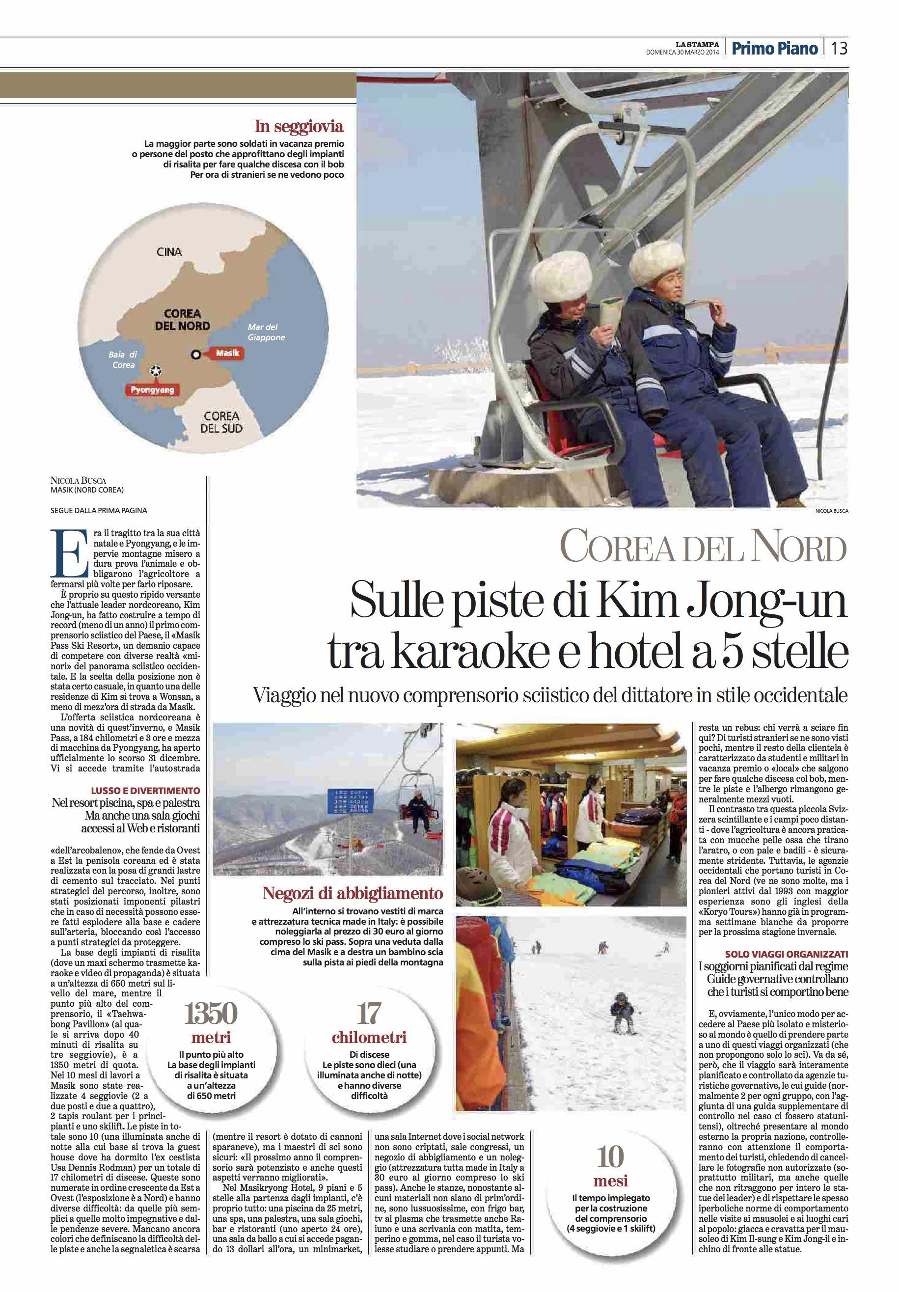 La Stampa (ITA). Ski in North Korea. 03-28-14