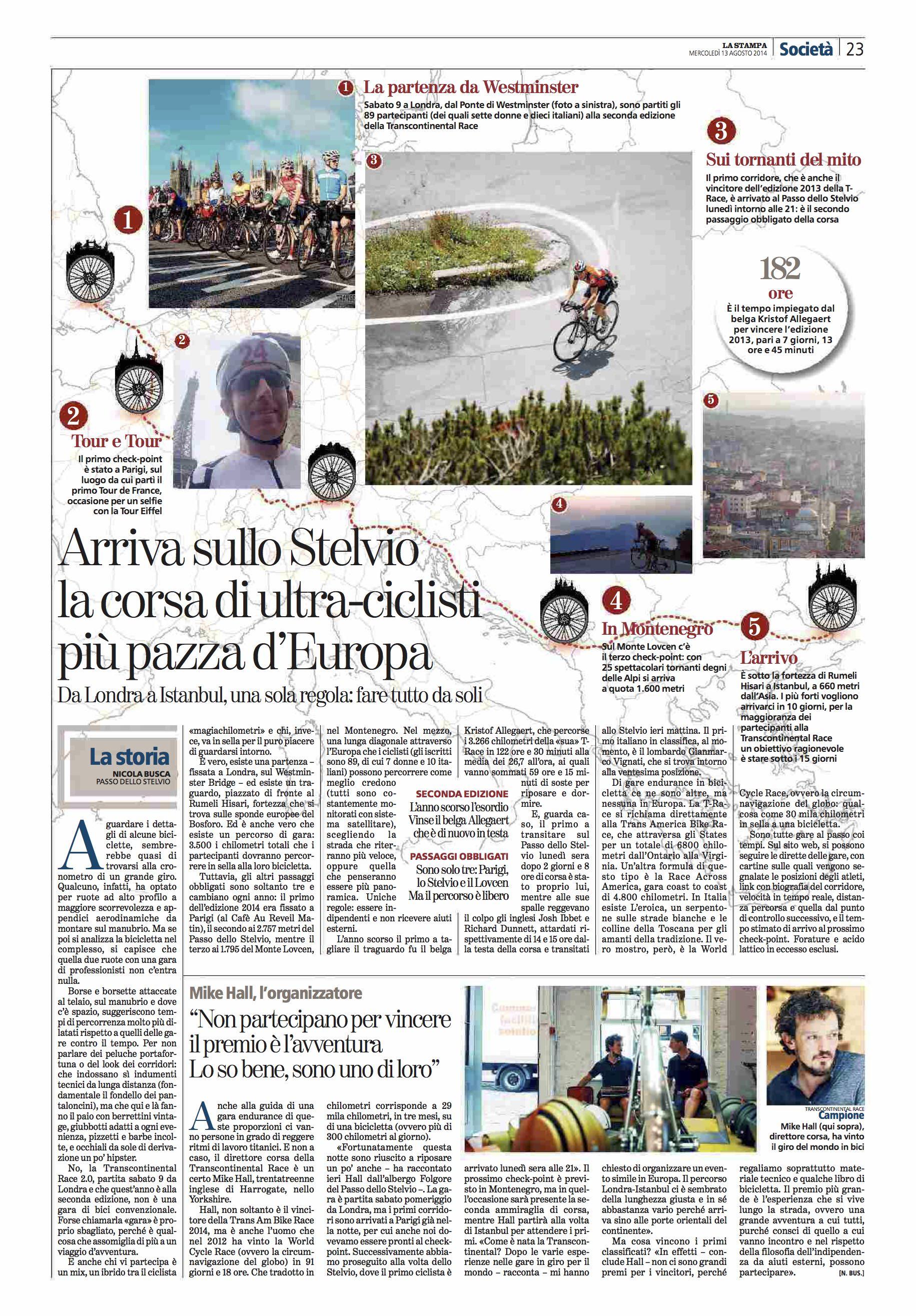 La Stampa (ITA). Transcontinental Bike Race 2014.