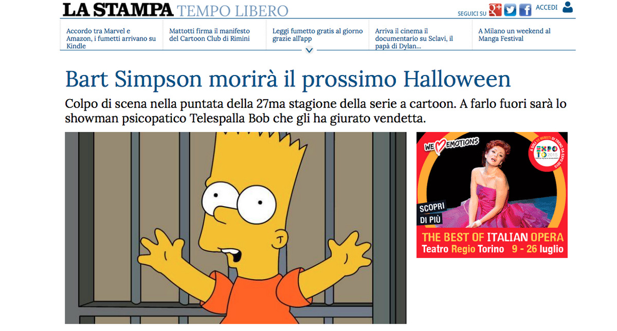 Bart Simpson will die in the next Simpson's serie. 08.06.15