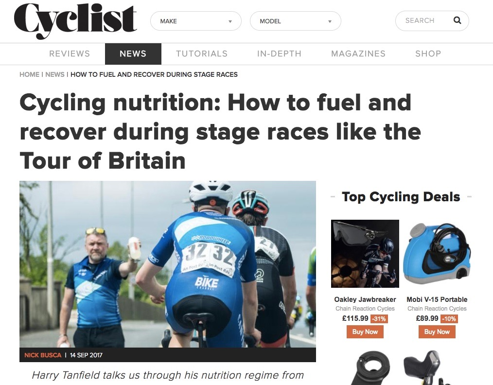 Nutrition at the Tour of Britain