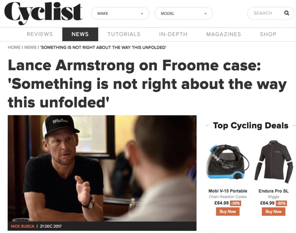 Lance Armstrong on Chris Froome