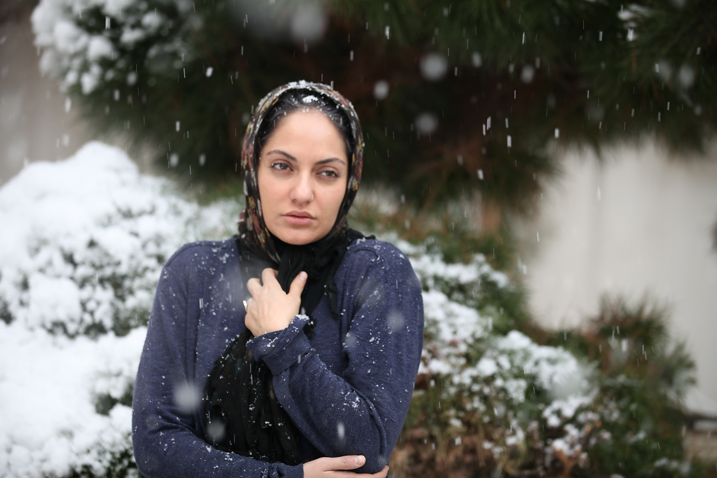 IMAGE: ACTRESS MAHNAZ AFSHAR PICTURED IN SNOW ON PINES, THE DIRECTORIAL DEBUT FROM IRANIAN WRITER AND ACTOR PAYMAN MAADI.