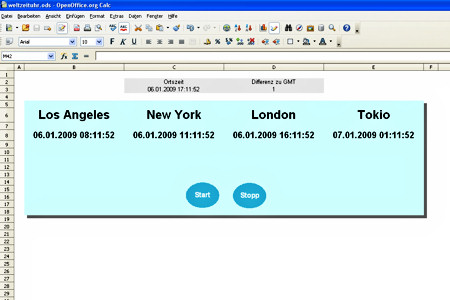 Weltzeituhr in OpenOffice Calc