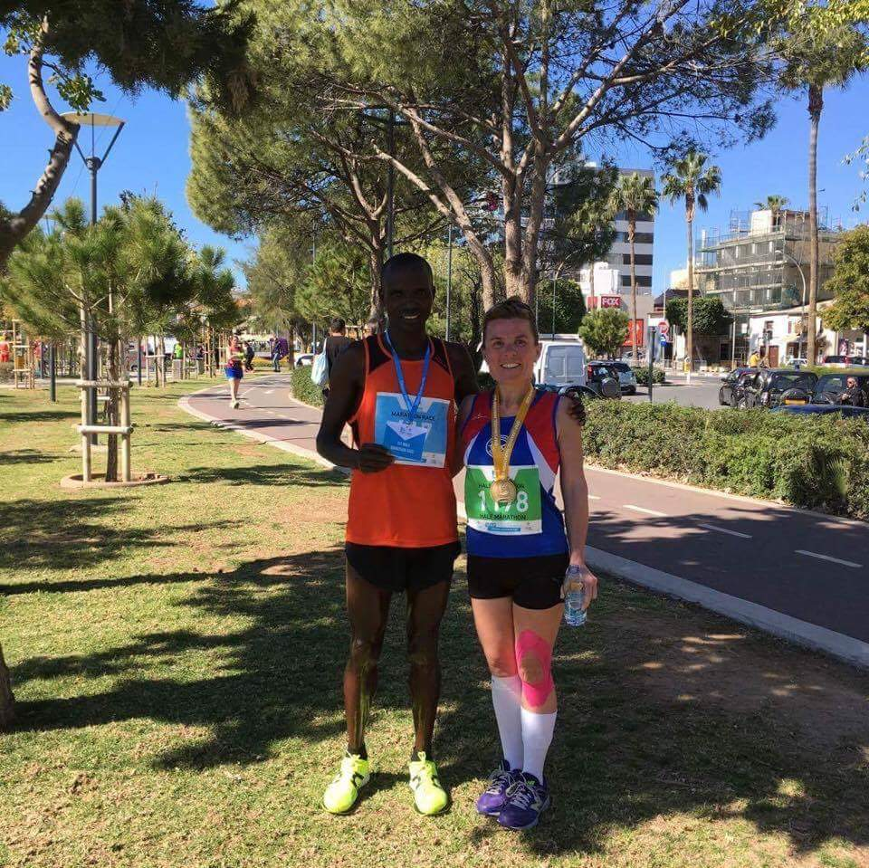 Most people go to Cyprus for a holiday.....but not Jane! Here she is spotted with the marathon race winner. Fantastic!